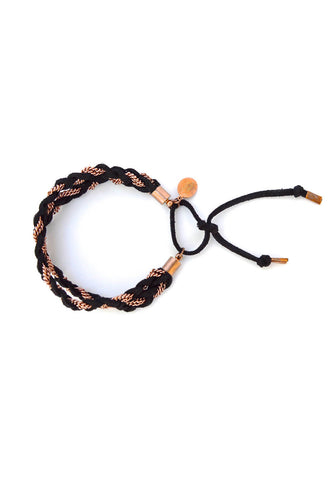 double braid bracelet - black rose