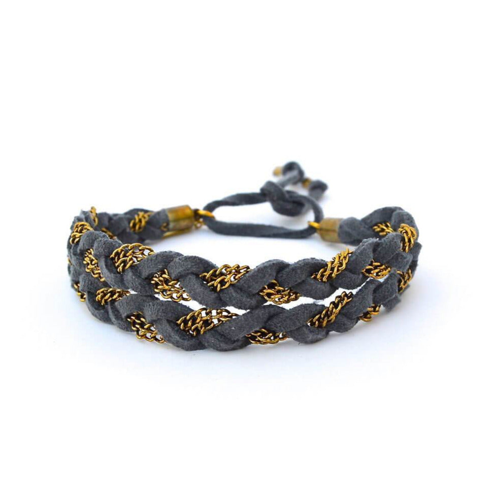 double braid bracelet - gray gold
