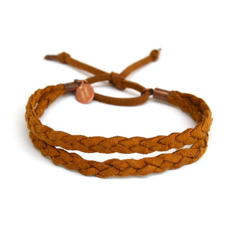 double braid bracelet - whiskey