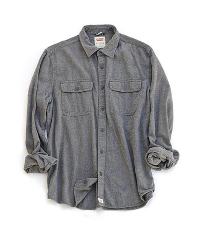 double pocket flannel shirt - ash - men's size large