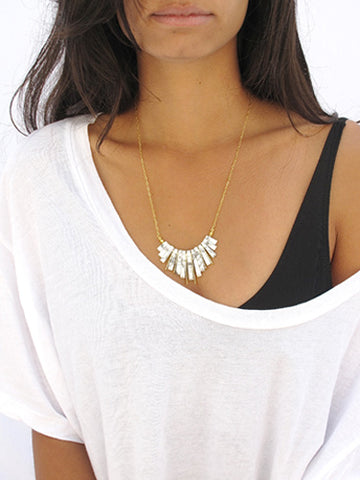 fan necklace - howlite