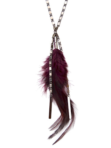 feather necklace - dark plum