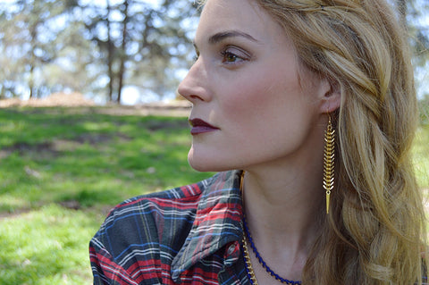 fishbone earrings - gold