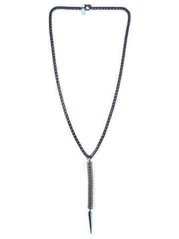 fishbone necklace - gunmetal