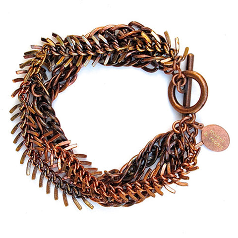 fishbone bracelet - tarnished copper