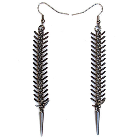 fishbone earrings - gunmetal