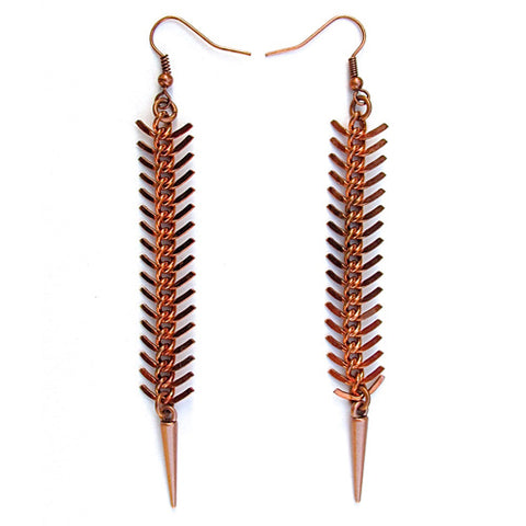fishbone earrings - tarnished copper