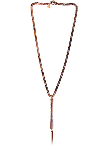 fishbone necklace - tarnished copper