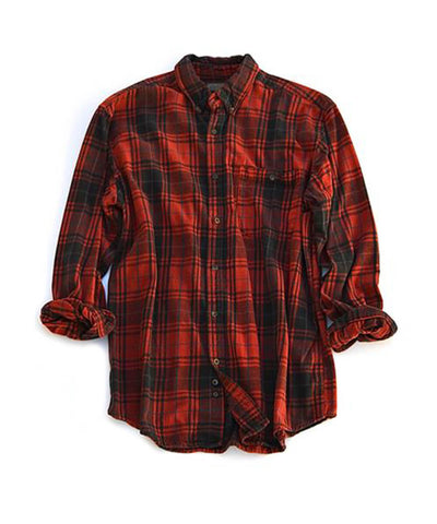 flannel shirt - red black plaid - men's size large