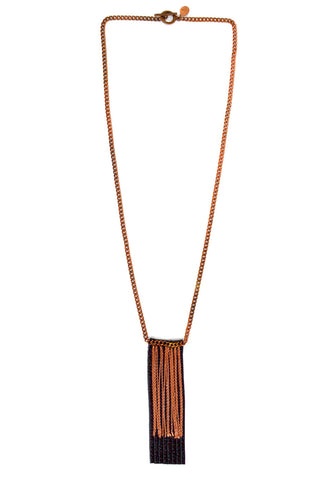 fringe necklace - black rose gold