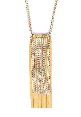 fringe necklace - champagne gold