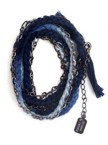 indigo dip dyed braided wrap bracelet