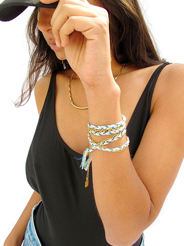 braided wrap bracelet - gold ocean