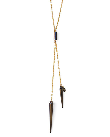 spike necklace - gold gunmetal