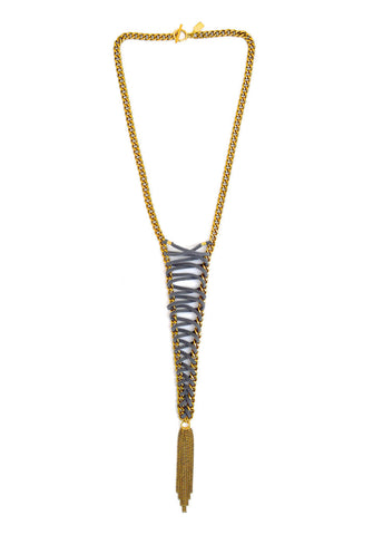 lace up necklace - gray gold