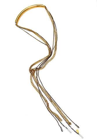 lariat necklace - antique gold
