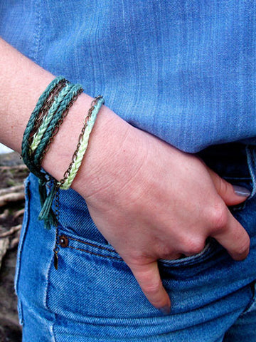 leaf dip dyed braided wrap bracelet