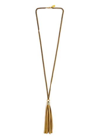 leather tassel necklace - champagne