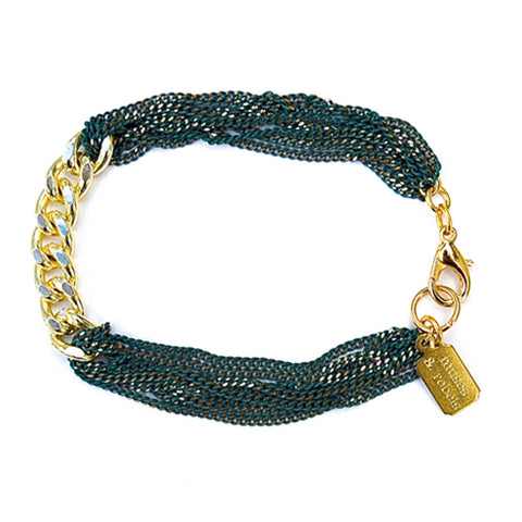 link id bracelet - hunter green