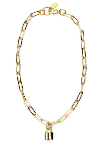 lock pendant necklace - gold