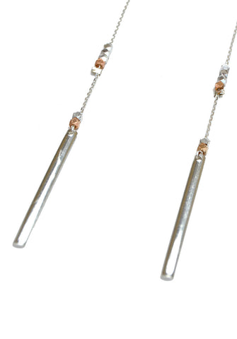 long bar earrings - silver rose