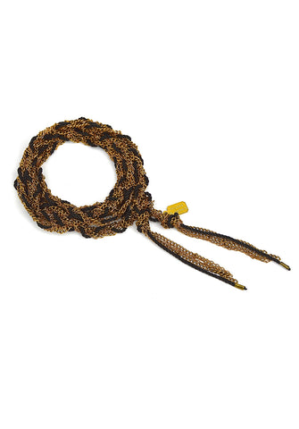 long braided chain - antique gold + black