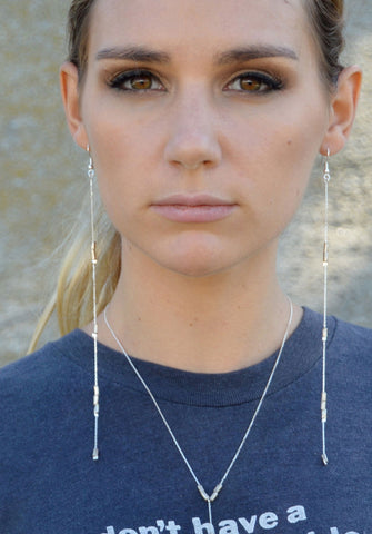 long earrings - silver