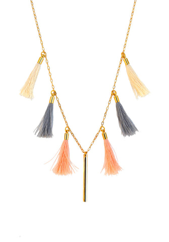 long tassel necklace - sunset