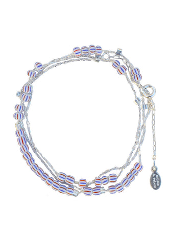 love chain - silver stripe bead