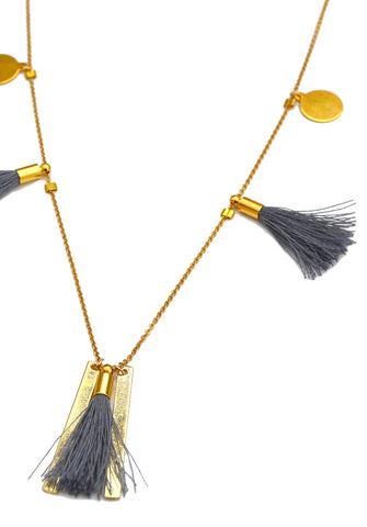 marrakesh tassel necklace - gray