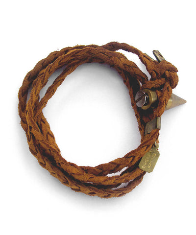 braided wrap bracelet - whiskey