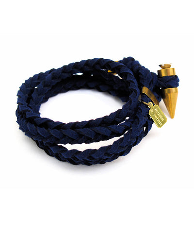 braided wrap bracelet - navy