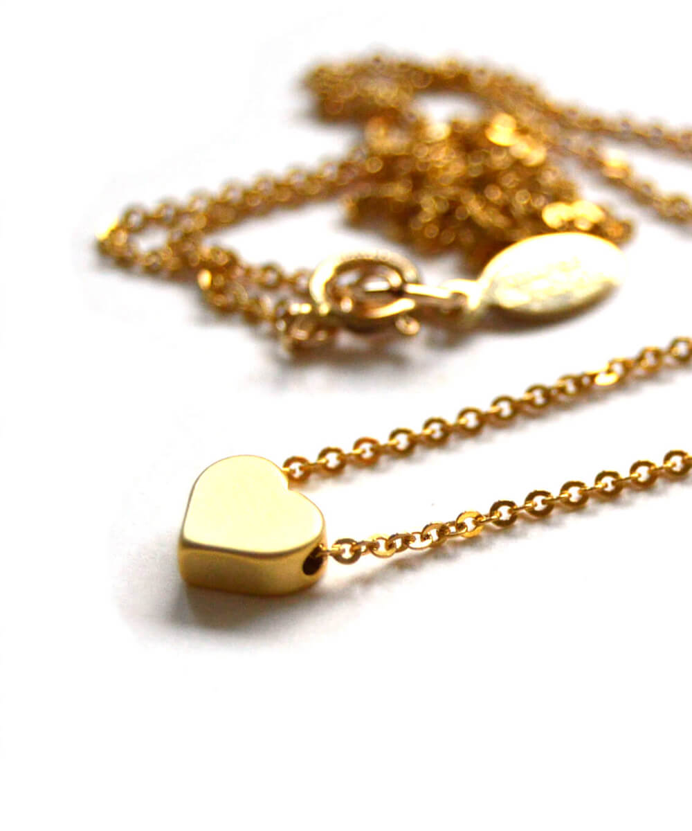 mini heart necklace - gold