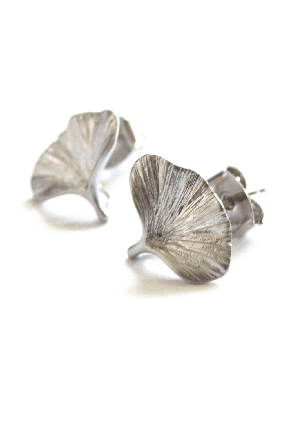 mushroom earrings - matte silver