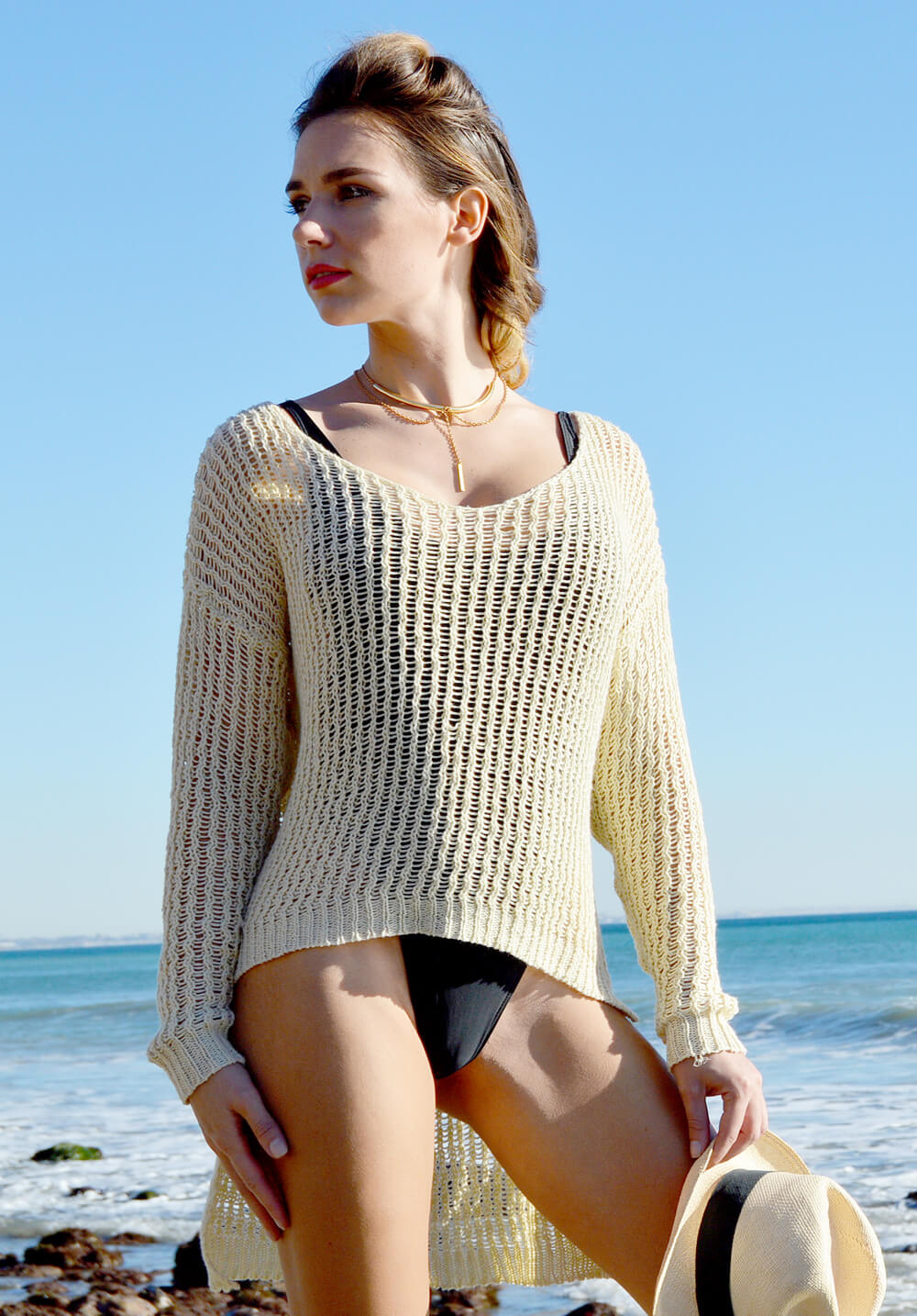 open knit sweater - cream