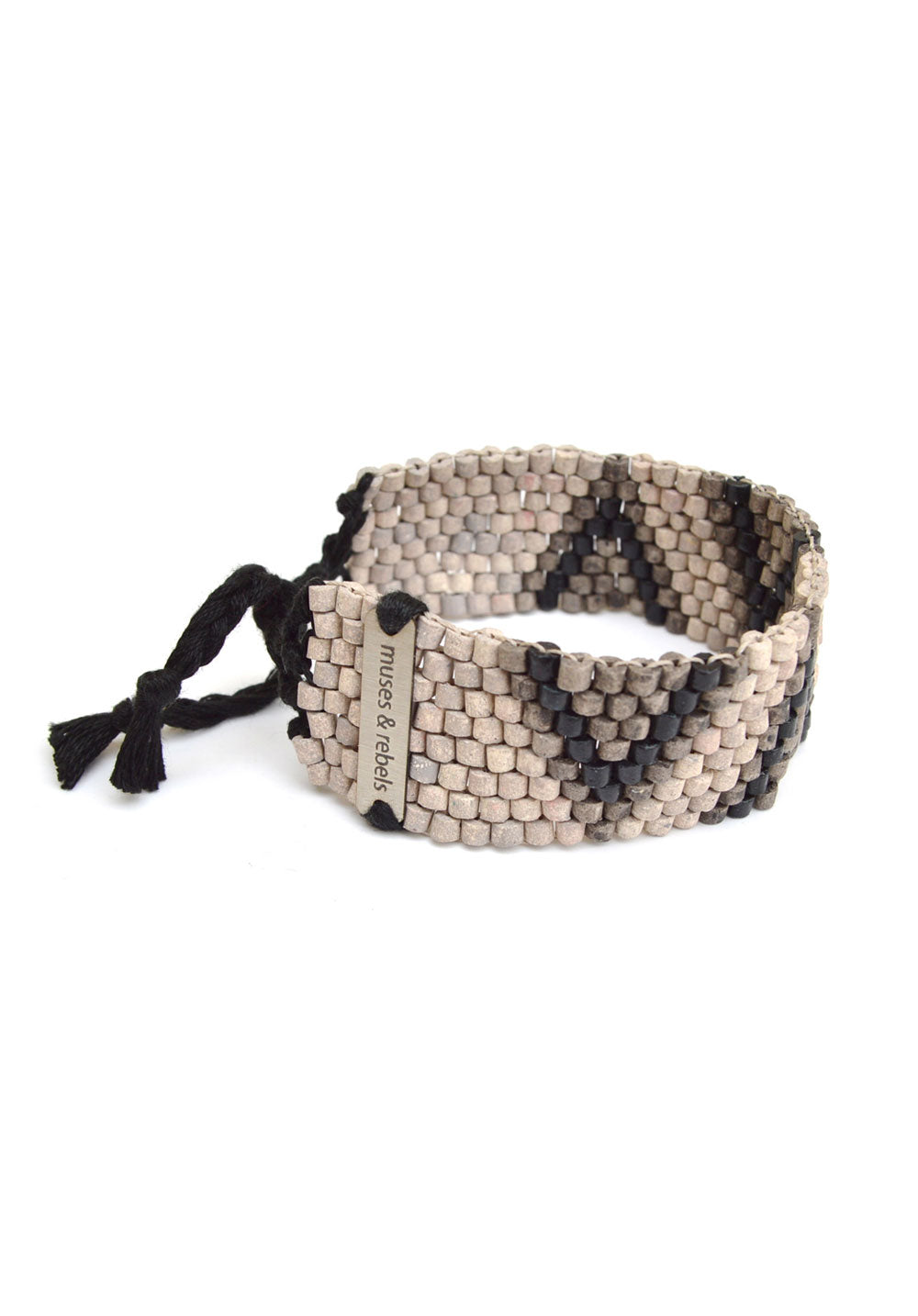 peyote stitch bracelet - ash triangles