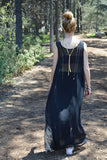 sheer maxi dress - black