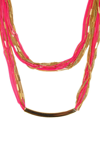 short bar necklace - neon pink