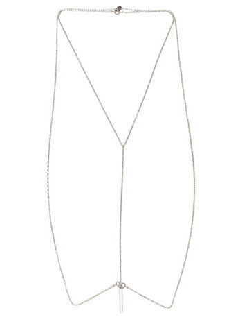 silver bar body chain-necklace