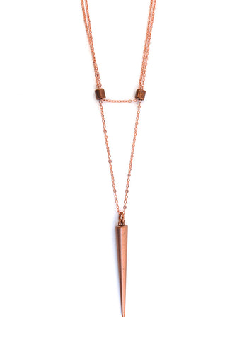 solitary spike necklace - rose gold