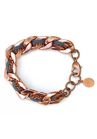 suede & chain bracelet - rose gold