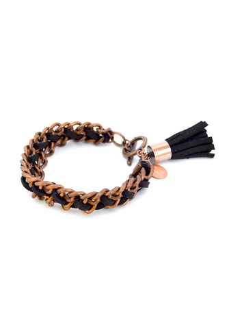 suede tassel bracelet - black copper