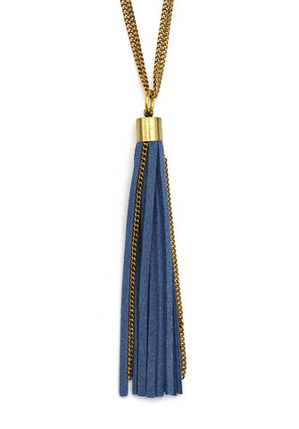 suede tassel necklace - indigo brass