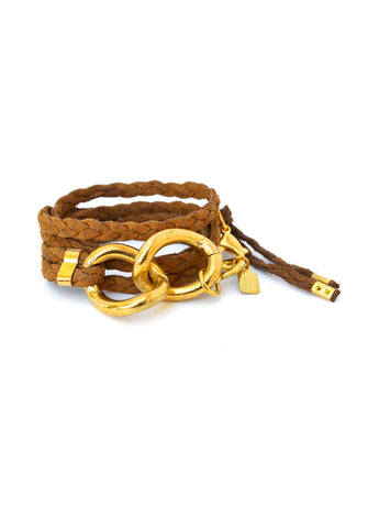 suede wrap bracelet - whiskey