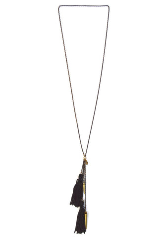 tassel spike necklace - black