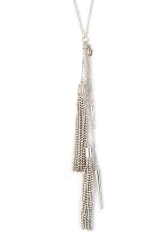 tassel spike necklace - silver