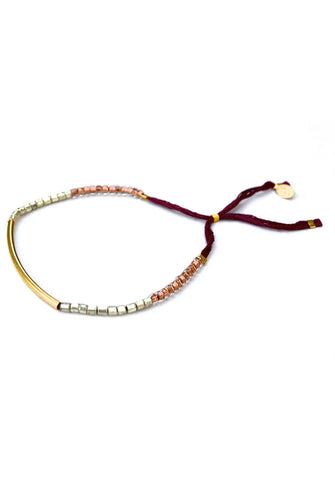 thread bracelet - gold bar