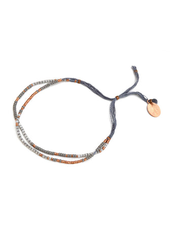 thread bracelet - gray copper