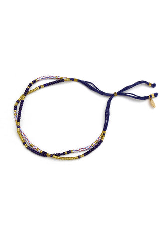 thread bracelet - indigo brass