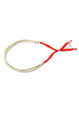 thread bracelet - silver red